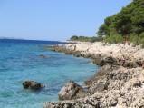 Skalisty brzeg plaży w Primosten