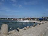 Plaża w Helu , widok z portu