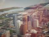 Widok z Sears Tower, na Soldier Field w Chicago