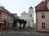 Kościół p.w. Podwyższenia Krzyża Świętego, widok z rynku, Działdowo