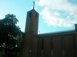 Wieża kościoła Podwyższenia Krzyża Świętego w Hucie Dąbrowie