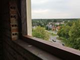 Widok przez okno na tarasie widokowym wieży w Orchówku