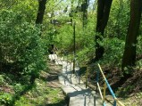 Zejście do ulicy Niskiej i na deptak przy Narwi w Serocku